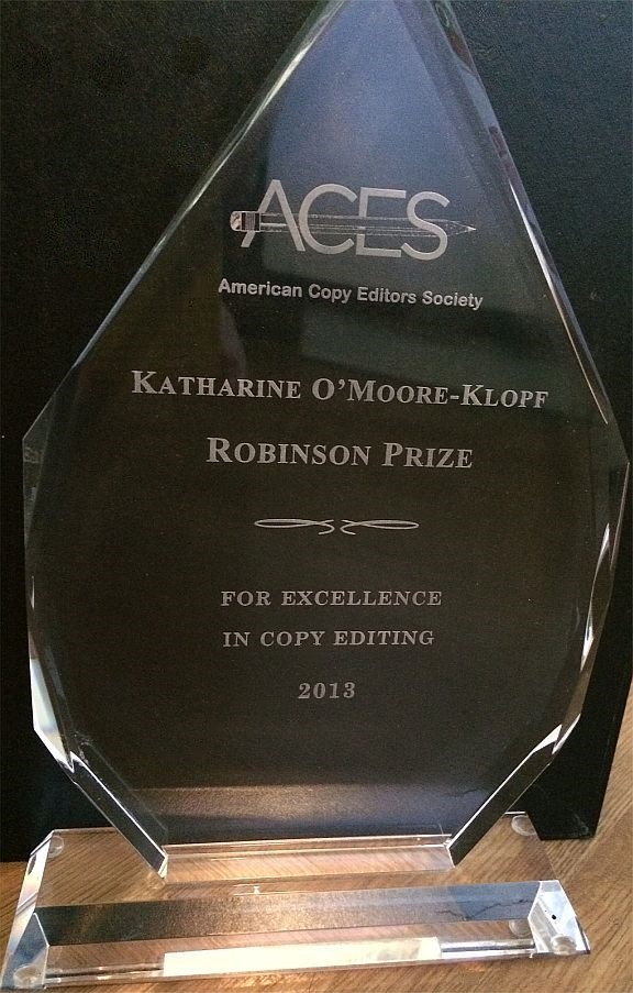 Winner of the 2013 Robinson Prize from the American Copy Editors Society